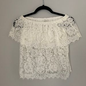 Aritzia Wilfred White Lace Off The Shoulder Top